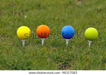 Beautiful golf ball in grass with great colors