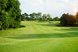 Beautiful golf course in a sunny day. Background evening golf course has sunlight shining down. Golf course in the countryside