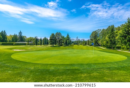 Beautiful golf course in a sunny day. Canada, Vancouver.