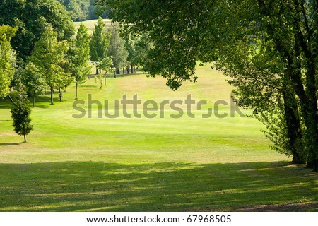 beautiful golf park landscape of a green field with trees