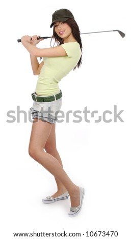 Beautiful golfer girl over white background