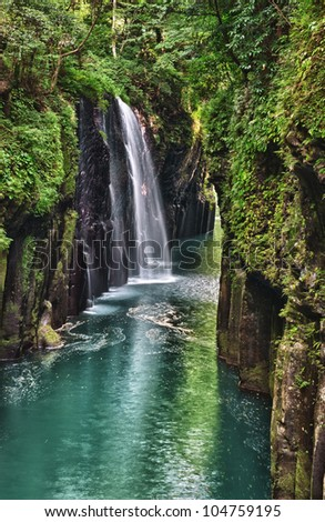 Beautiful gorge Takachiho with a blue river and waterfall, Japan - Kyushu island #104759195