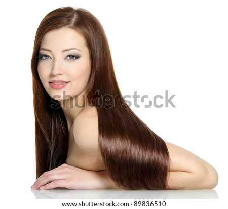 Beautiful gorgeous long straight hair of young sexy woman - white background