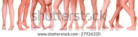 Beautiful graceful female feet, isolated on a white background, please see some of my other parts of a body images: