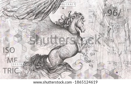 Beautiful graphic drawn pegasus with wings and geometry on a grey concrete grunge wall. Design for wallpaper, photo wallpaper, mural, card, postcard. Illustration in the loft, classic, modern style.