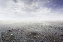 Beautiful gravel background with gravel mist and clouds