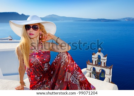 Beautiful Greek woman in Santorini, Greece