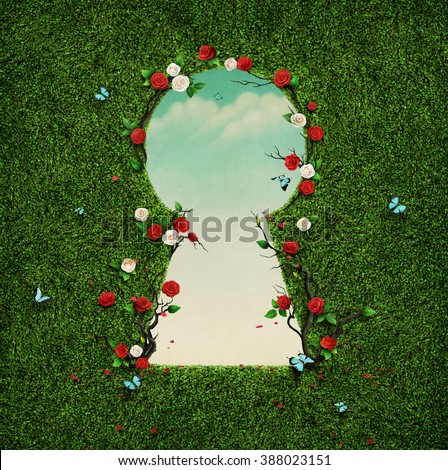 Beautiful green background with roses in keyhole.
