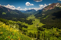 Beautiful green Gothic Valley above Crested Butte Colorado