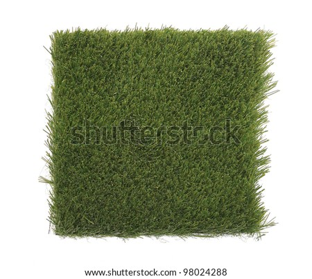 Beautiful green grass patch isolated on white background for your project