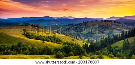 Beautiful green hills at dusk. Carpathian, Ukraine, Europe. Beauty world. - Shutterstock ID 203178007