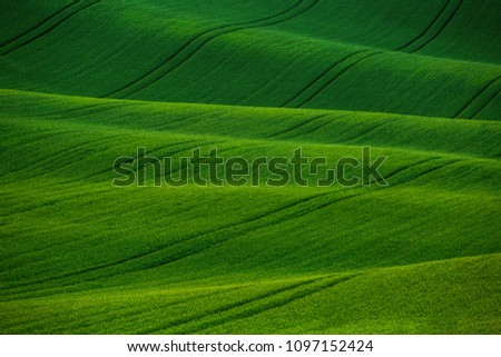 Beautiful green meadows, fields and hills landscape in Moravian Tuscany, South Moravia, Kyjov, Czech Republic.