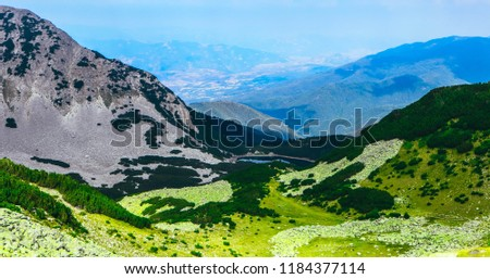 Beautiful green meadows in alpine high mountains, summertime. Amazing fields landscape.