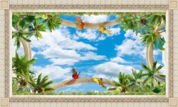 Beautiful green palm trees on a background of summer blue sky. Tropical paradise. Art ceiling. 3D Wallpaper. digital fresco