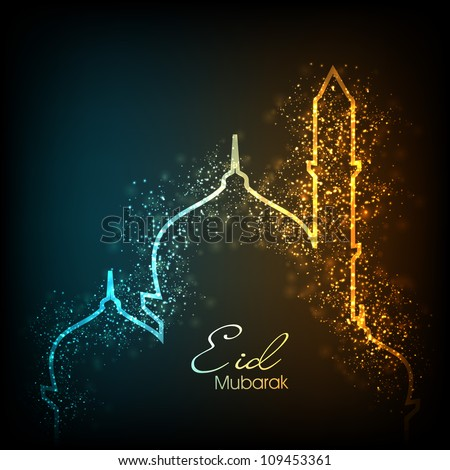 Beautiful greeting card for Eid Mubarak festival with shiny Mosque and Masjid image. EPS 10. - stock photo