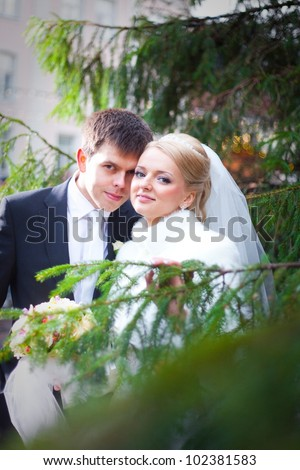 beautiful groom and the bride in the city near a Christmas tree