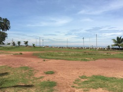 Beautiful ground land with blue sky in rural place, hot sky with uncommon beauty lands ground