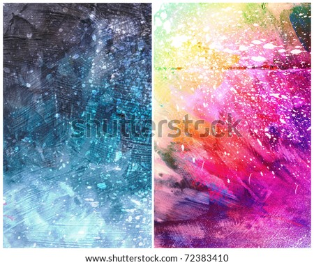 Beautiful grunge splatter background in vibrant pink, yellow and blue- Great for textures and backgrounds for your projects!