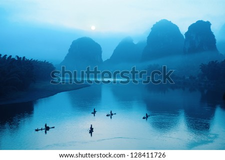 beautiful guilin scenery at sunrise,yangshuo scenery is best. #128411726