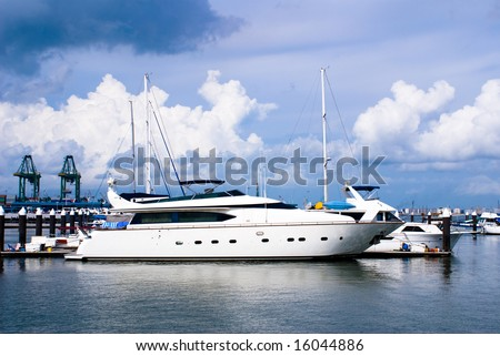 Beautiful habor view with blue sky and luxury yacht in tropical country