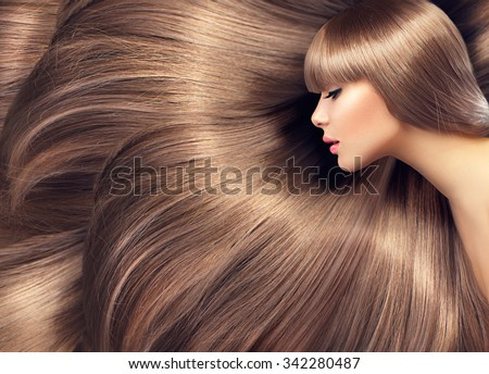 Beautiful Hair. Beauty woman with luxurious long hair as background. Beauty Model girl with Healthy blond Hair. Beautiful woman with long smooth shiny straight hair. Hairstyle. Hair cosmetics #342280487