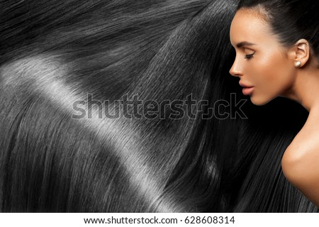 Beautiful Hair. Beauty woman with luxurious long hair as background. Beauty Model girl with Healthy. Beautiful woman with long smooth shiny straight hair. Hairstyle. Hair cosmetics Stok fotoğraf ©