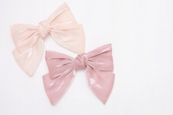 Beautiful hair bow for girls. Fashion accessory for girls hair on white background.