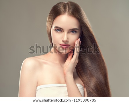 Beautiful hair healthy smooth long brunette woman hairstyle beauty