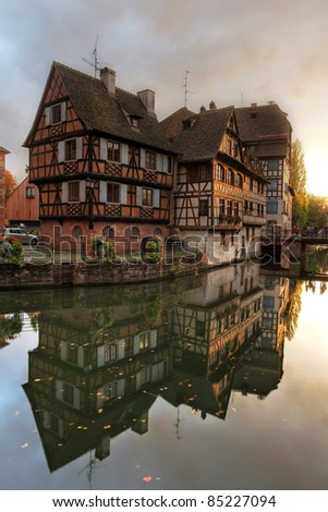Beautiful half-timbered houses in Petite-France area of Strasbourg, France