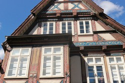 Beautiful half-timbered houses in the historic town of Celle, with historic inscriptions. The oldest historic house dates in 1526. North Germany, Europe.
