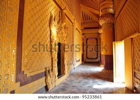 beautiful hall of Kambawzathardi Golden Palace (Palace of Bayinnaung) in Bago, Myanmar