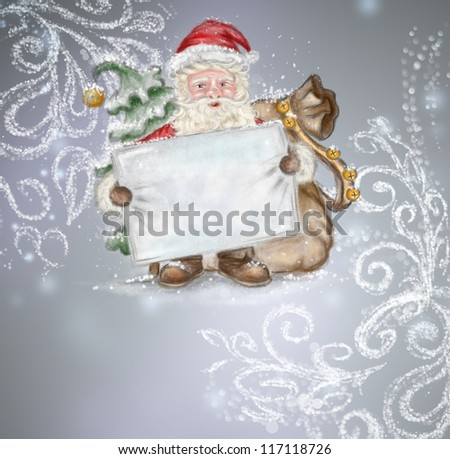 Beautiful hand drawn illustration Santa Claus with a blank poster in his hands on silver fairy background. Lots of copyspace