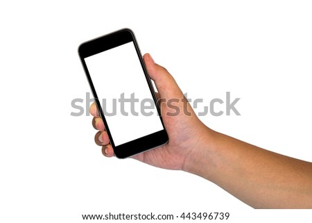 Beautiful hand holding black phone isolated on white background with clipping path. #443496739