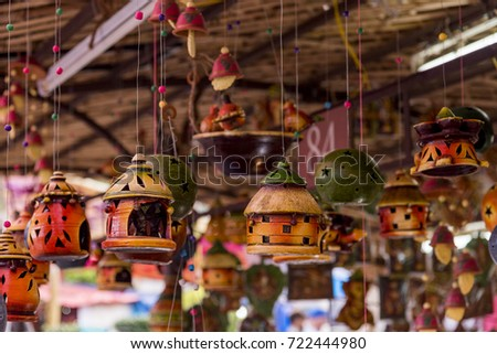 Beautiful hand made decorative items at a shop for sale. The crafts of India are diverse, rich in history and religion. The craft of each state in India reflect the influence of different empires.
