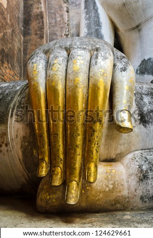 Beautiful hand of big buddha in Sukhothai Historic Park, Thailan