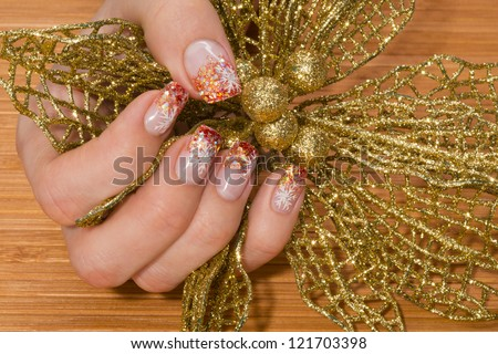 beautiful hand with fresh manicured nails - stock photo