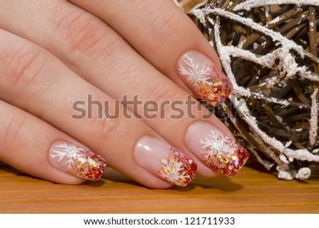 beautiful hand with fresh manicured stylish nails