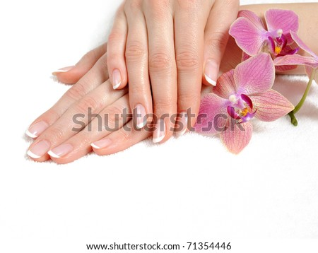 Beautiful hand with perfect nail french manicure and purple orchid flowers. isolated on white background - stock photo