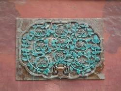 Beautiful handcraft decoration  on red wall