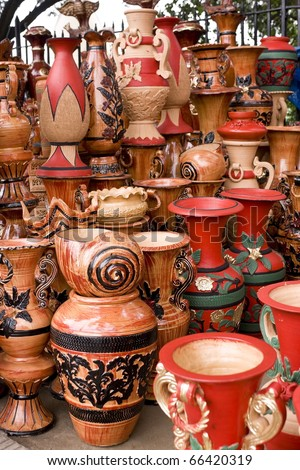 Beautiful handmade and hand-painted clay pots and jars in a roadside shop in Dhaka, Bangladesh