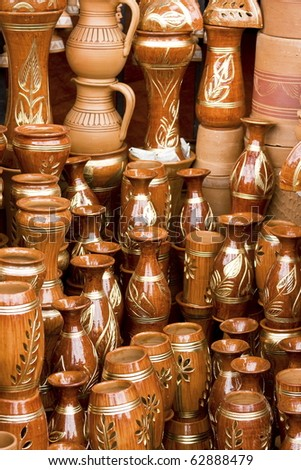 Beautiful handmade clay pots in a roadside market in Dhaka, Bangladesh