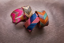 Beautiful Handmade wicker bracelets, wristband on isolate