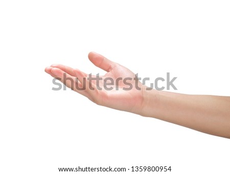 Beautiful hands isolated, Hand holding something with clipping path.