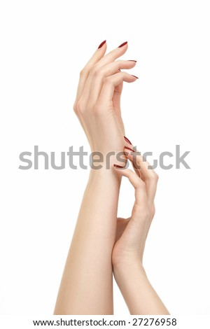 Beautiful hands of a woman with polished nails