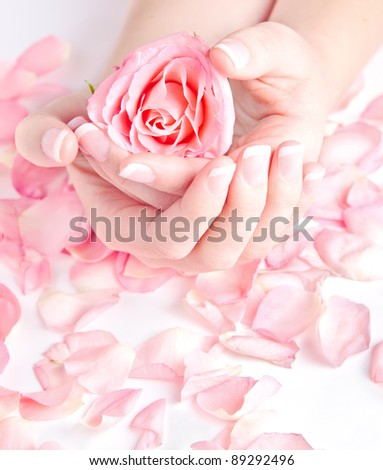 Beautiful hands with french manicure holding rose