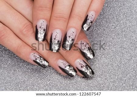 beautiful hands with fresh manicured stylish nails