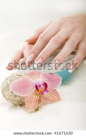 Beautiful hands with healthy skin and perfect french manicure near bowl with water and orchid flower