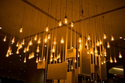 Beautiful hanging lamps on ceiling