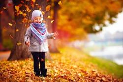 beautiful happy baby girl having fun in autumn park, among fallen leaves