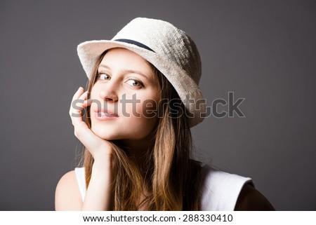 Beautiful happy Fashion Model smiling